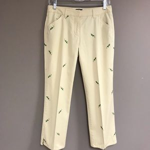 J. Crew Embroidered Lizard Cropped Chinos